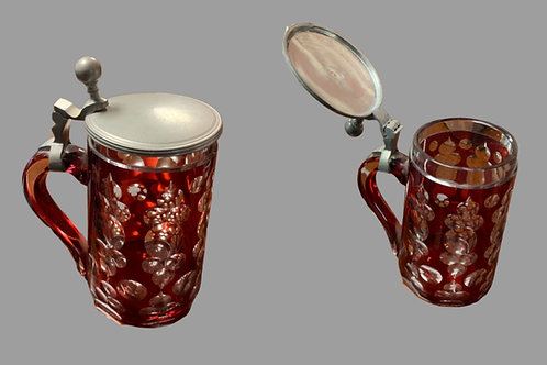 Ruby glass syrup with pewter lid 19th. century