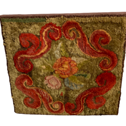 Floral hook rug with nice colors C. 1890s