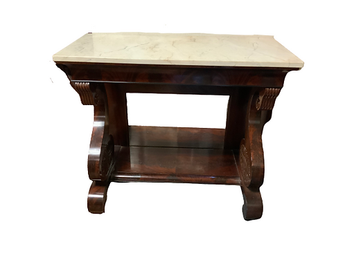 MAHOGANY CLASSICAL MARBLE TOP PIRE TABLE