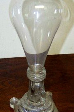 TALL SANDWICH GLASS WHALE OIL LAMP