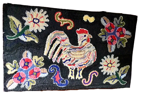 Hooked rug of a rooster