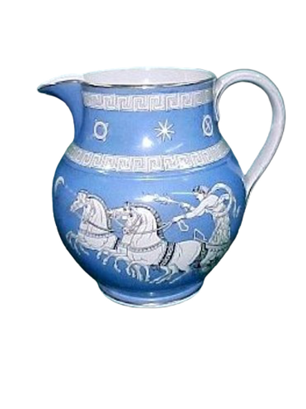 BLUE AND WHITE PEARLWARE PITCHER