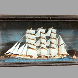 American ship diorama under glass every well done 19.century $595.00