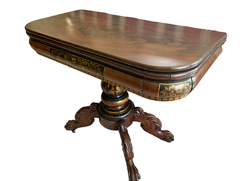 CLASSICAL MAHOGANY STENCILED GAME TABLE