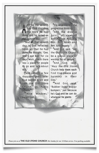 1993 Old Stone Church Newspaper Ad Agency: Griswold, Cleveland Writer: Lane Strauss