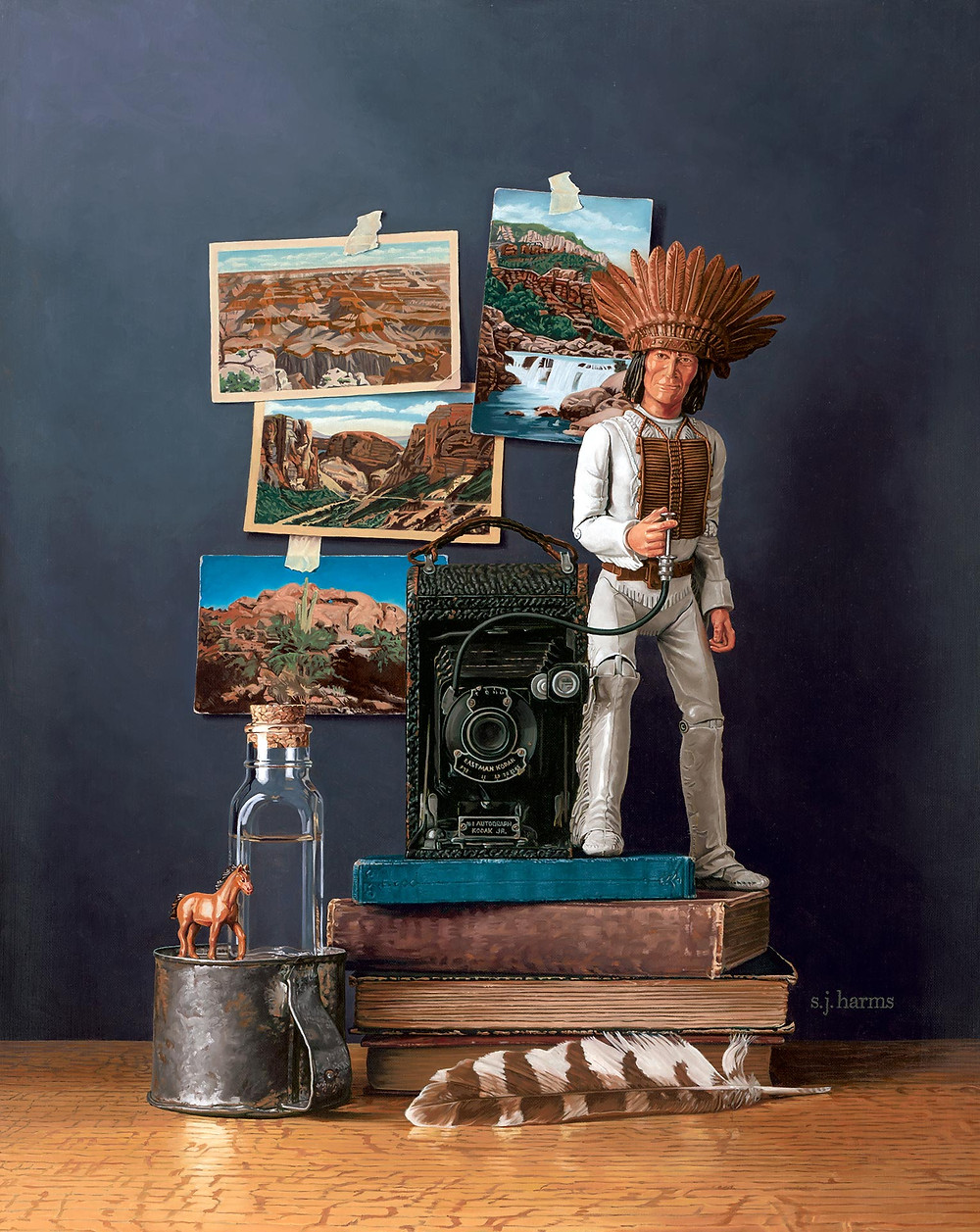 Contemporary oil painting of a Chief Cherokee doll with and old camera and postcards of western landscapes.