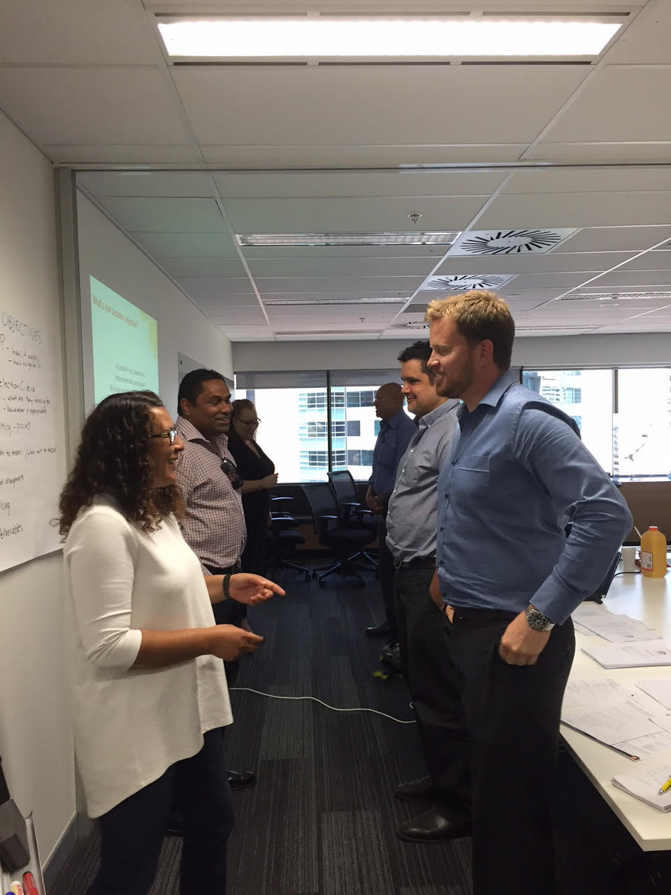 Business owners in Brisbane practising their pitch