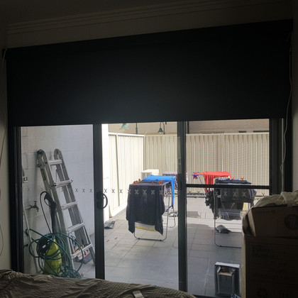 Black Coloured Motorised Block Out Blinds in a cassette