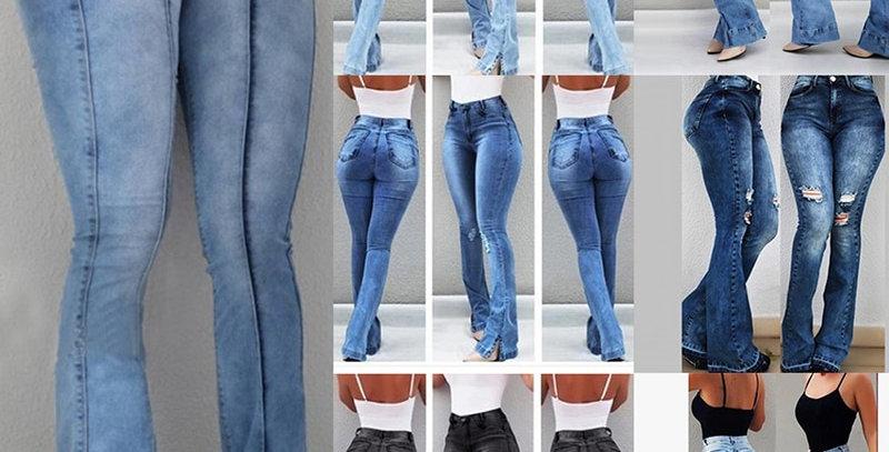 Women High Waist Flare Jeans Skinny Denim Pants  Jean Female Casual Jeans