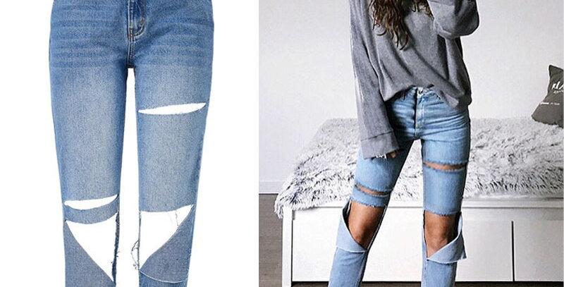 Irregular Ripped Jeans for Women  Jeans High Waist Regular Jeans Woman  Denim