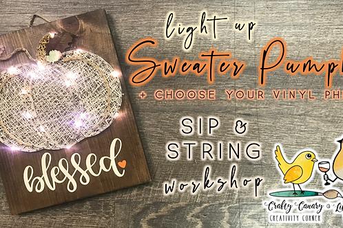 Light Up Sweater Pumpkin Sip & String Workshop (11/6 @ 7pm)