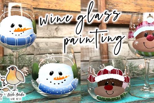 Snowman/Reindeer Wine Glass Painting Workshop (11/28 @ 10am)