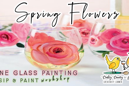 Spring Flowers Wine Glass Painting Workshop (4/3 @ 6pm)