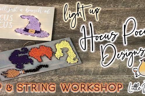 Hocus Pocus Designs Sip & String Workshop (10/7 @ 6pm)