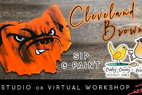Cleveland Browns Sip & Paint Workshop (1/9 @ 1pm)