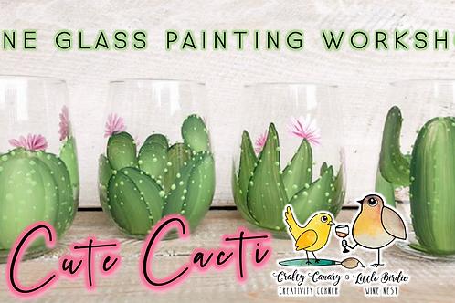 Cute Cacti Wine Glass Sip & Paint Workshop (8/7 @ 6pm)