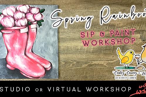 Spring Rainboots Sip & Paint Workshop (4/16 @ 6pm)