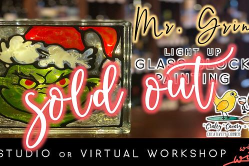 SOLD OUT: Mr. Grinch Light Up Glass Block Sip & Paint Workshop (11/18 @ 6pm)