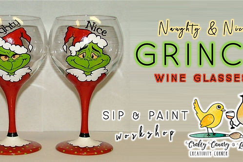 Naughty & Nice Grinch Wine Glass Painting Workshop (12/11 @ 6pm)
