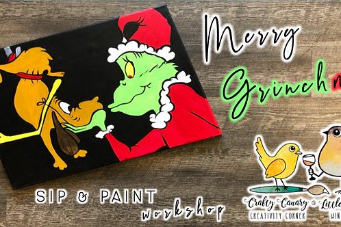 Merry GRINCHmas Sip & Paint Workshop (12/5 @ 7pm)