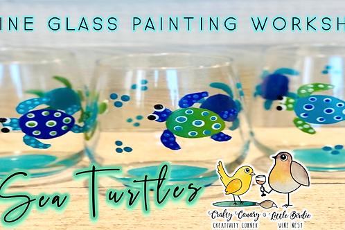 Sea Turtles Wine Glass Sip & Paint Workshop (8/13 @ 6pm)