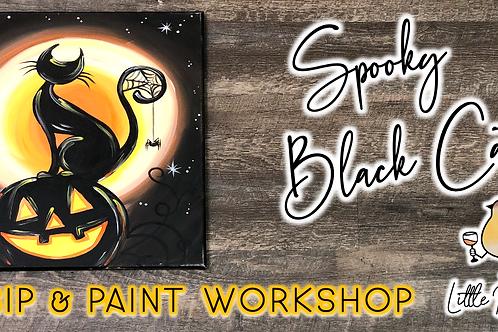 Spooky Black Cat Sip & Paint Workshop (10/14 @ 6pm)