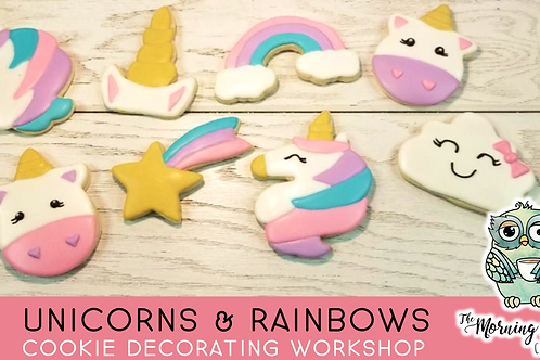 Unicorns & Rainbows Beginner's Cookie Decorating Workshop (3/28 @ 1pm)