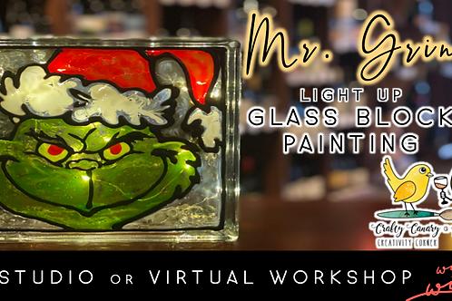 Mr. Grinch Light Up Glass Block Sip &Paint Workshop (12/1 @ 6pm)