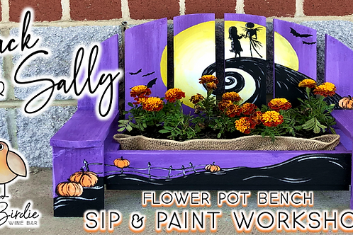 Jack & Sally Flower Pot Bench Sip & Paint Workshop (9/3 @ 6pm)