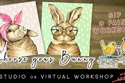 Choose your Bunny Sip & Paint Workshop (3/26 @ 6pm)