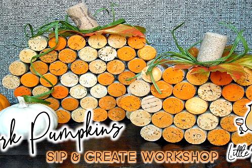 (Set of 3) Cork Pumpkins Sip & Create Workshop (10/13 @ 6pm)