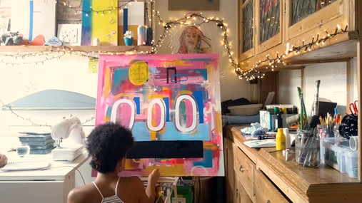 1m x 1m canvas painting