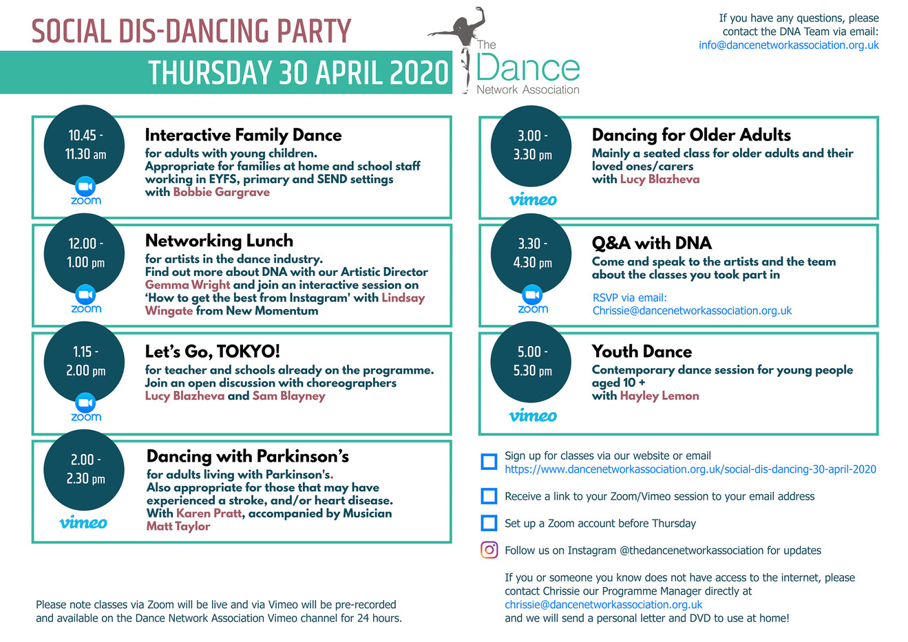 Invitation: DNA Digital dance class sche