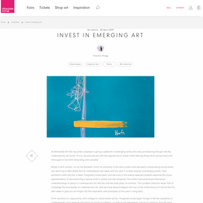 Featured on Affordable Art Fair blog about investing in emerging art, by Claudia Hogg.