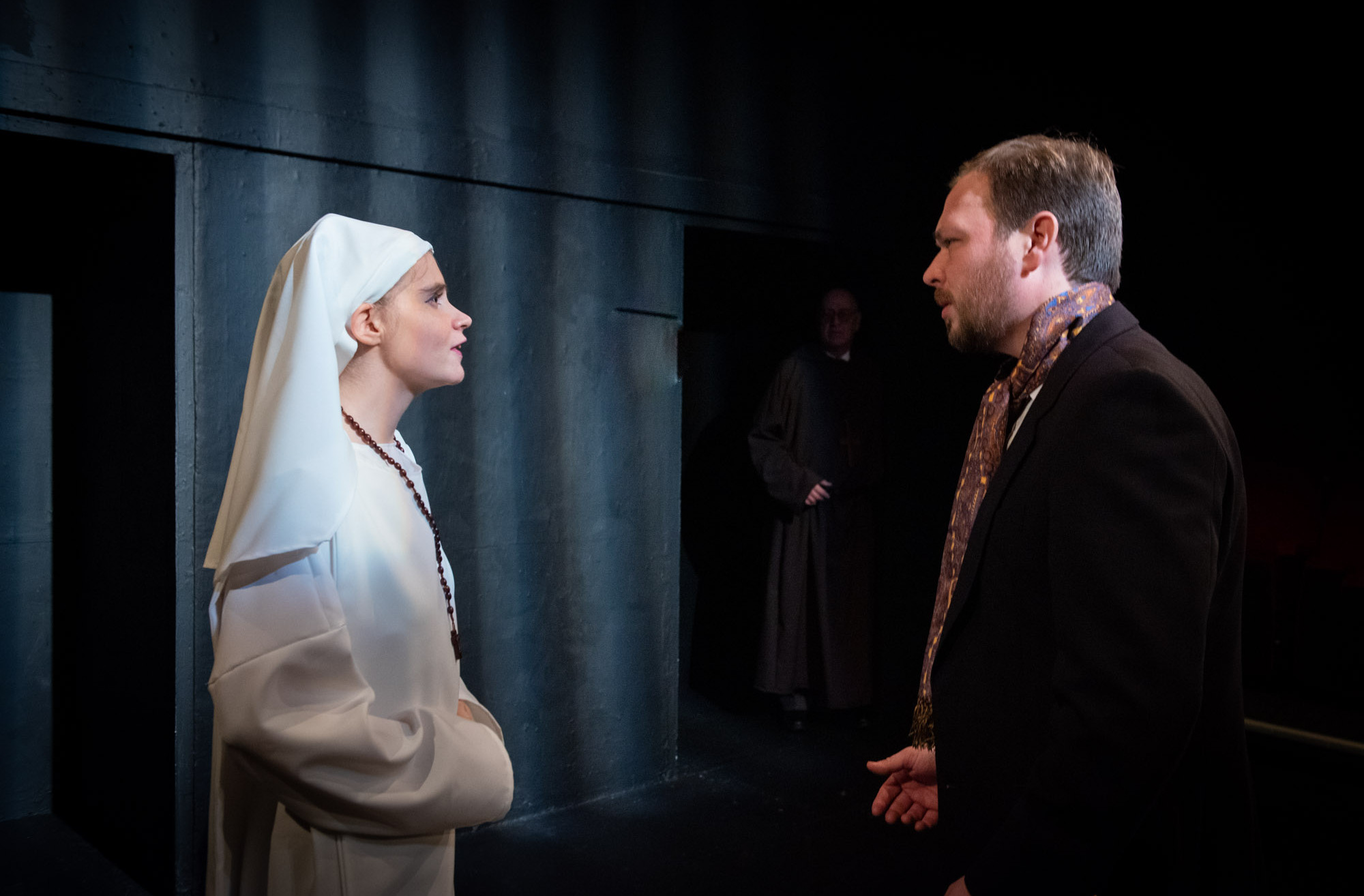 Bolton Little Theatre stage rehearsals of William Shakespeare play Measure for Measure featuring Catherine Cropper as Isabella and Alfred Howard as Luciano