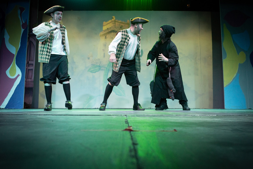 "Photograph from Bolton theatre stage production ""Jack and the Beanstalk"" featuring the bailiffs: Scarper and Snatched with Rancid the Ratman plotting."
