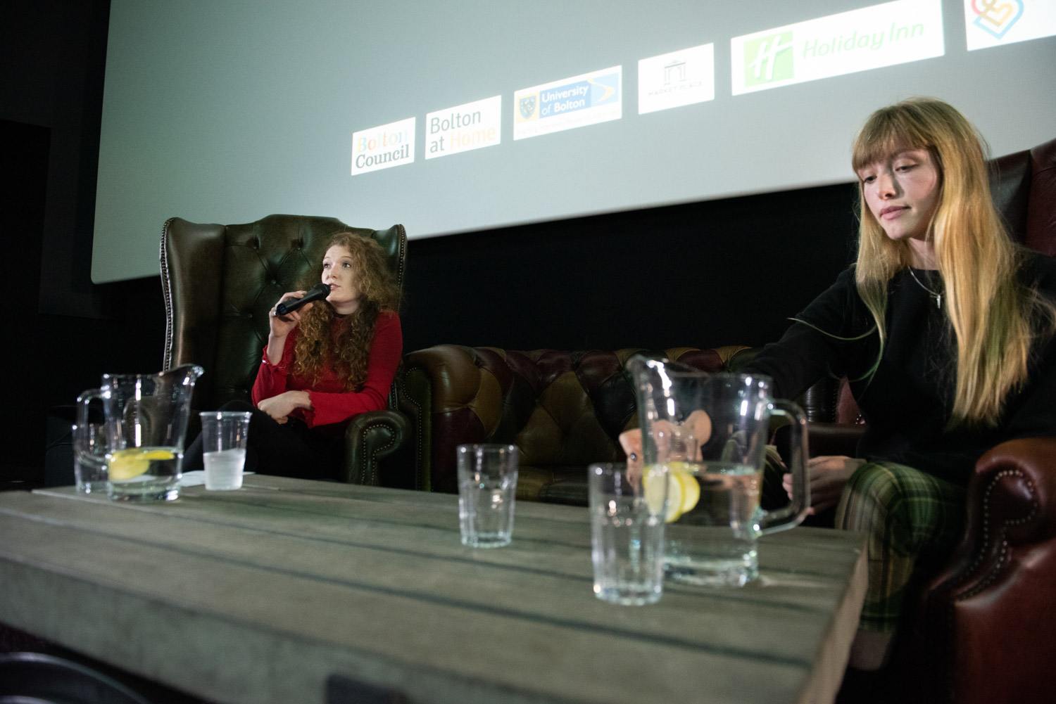 Host Hannah Blackwell of Doc Society in discussion with film-maker Rowan Woods in the Made of Truth session at the Light Cinema