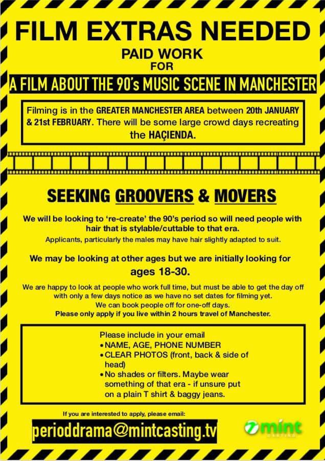 A poster with Casting Call for Extras for a film about the 90's music scene in Manchester