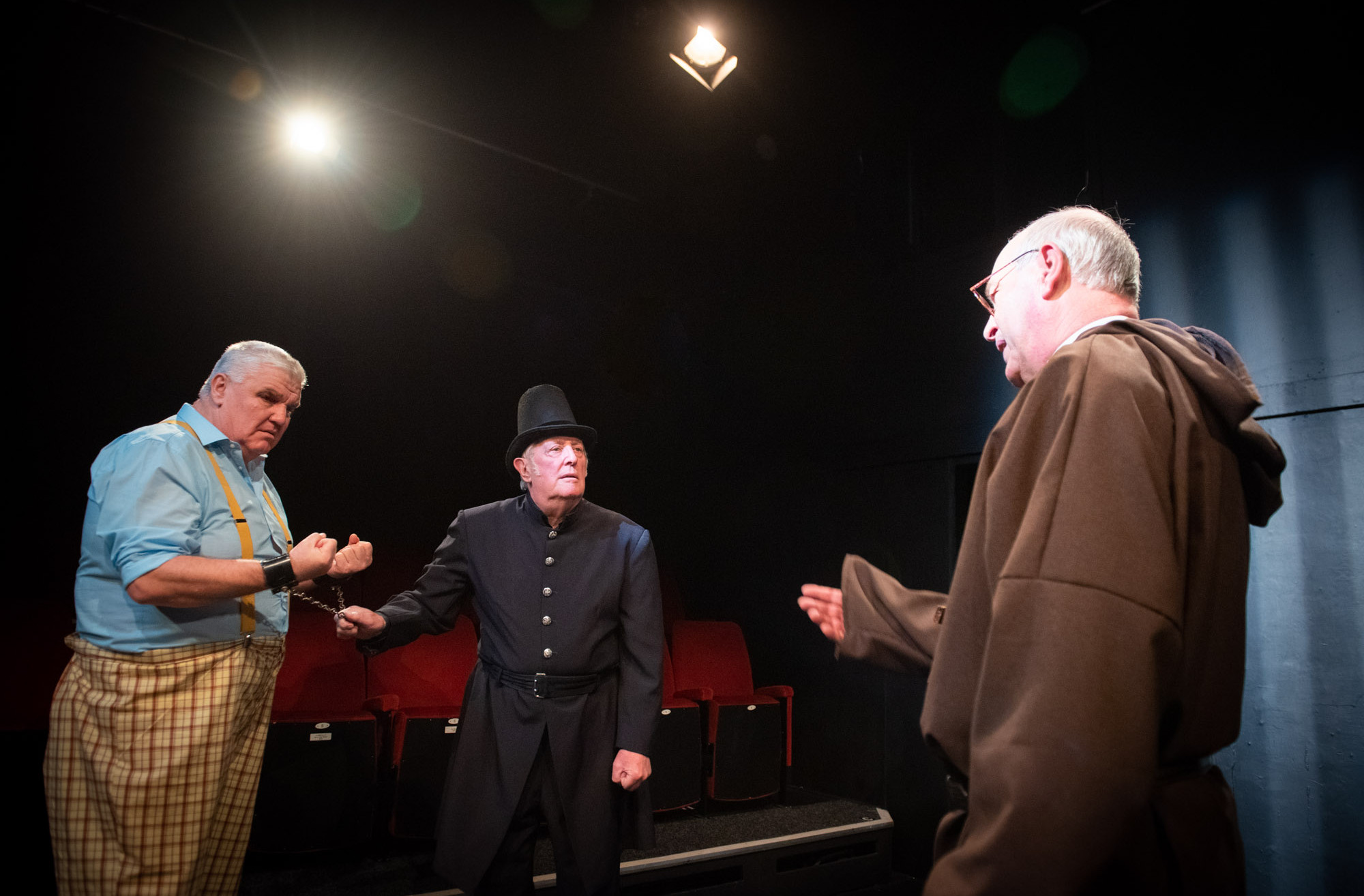 Bolton Little Theatre stage rehearsals of William Shakespeare play Measure for Measure featuring David Smart as Pompey, Mike Jeffries as Elbow and Peter Scofield as the Duke (in priest disguise)
