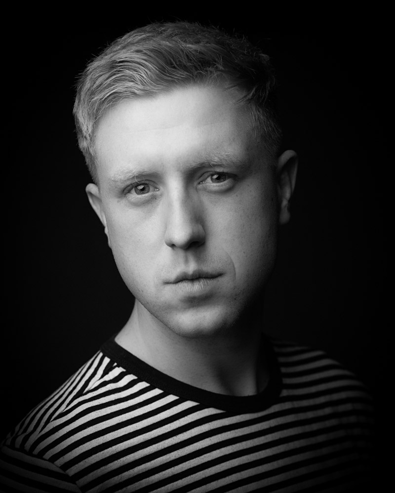 Joel Cheetham black and white Actor Headshot