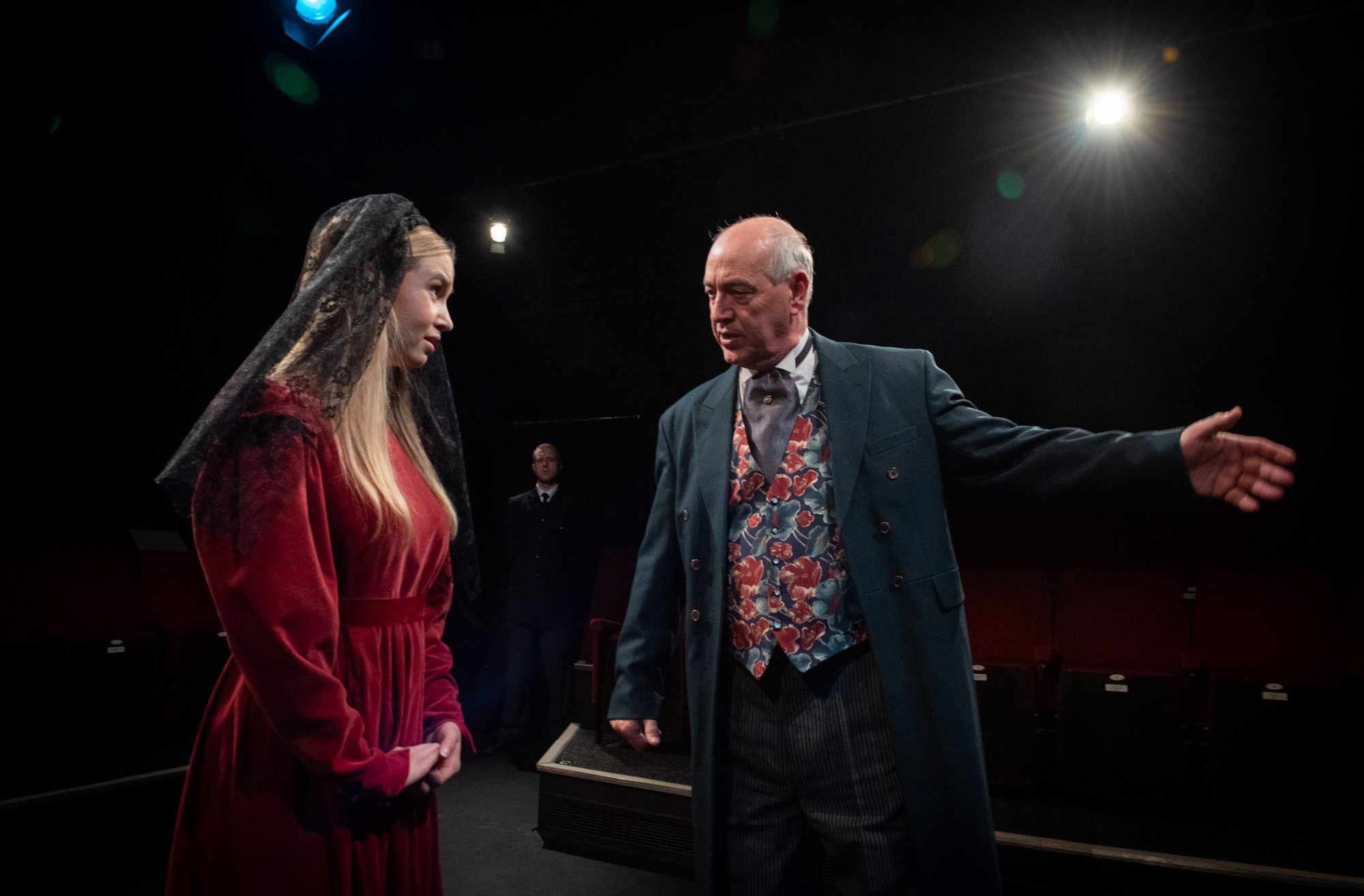 Bolton Little Theatre stage rehearsals of William Shakespeare play Measure for Measure featuring Rebecca Anderson as Marianna and Peter Scofield as the Duke