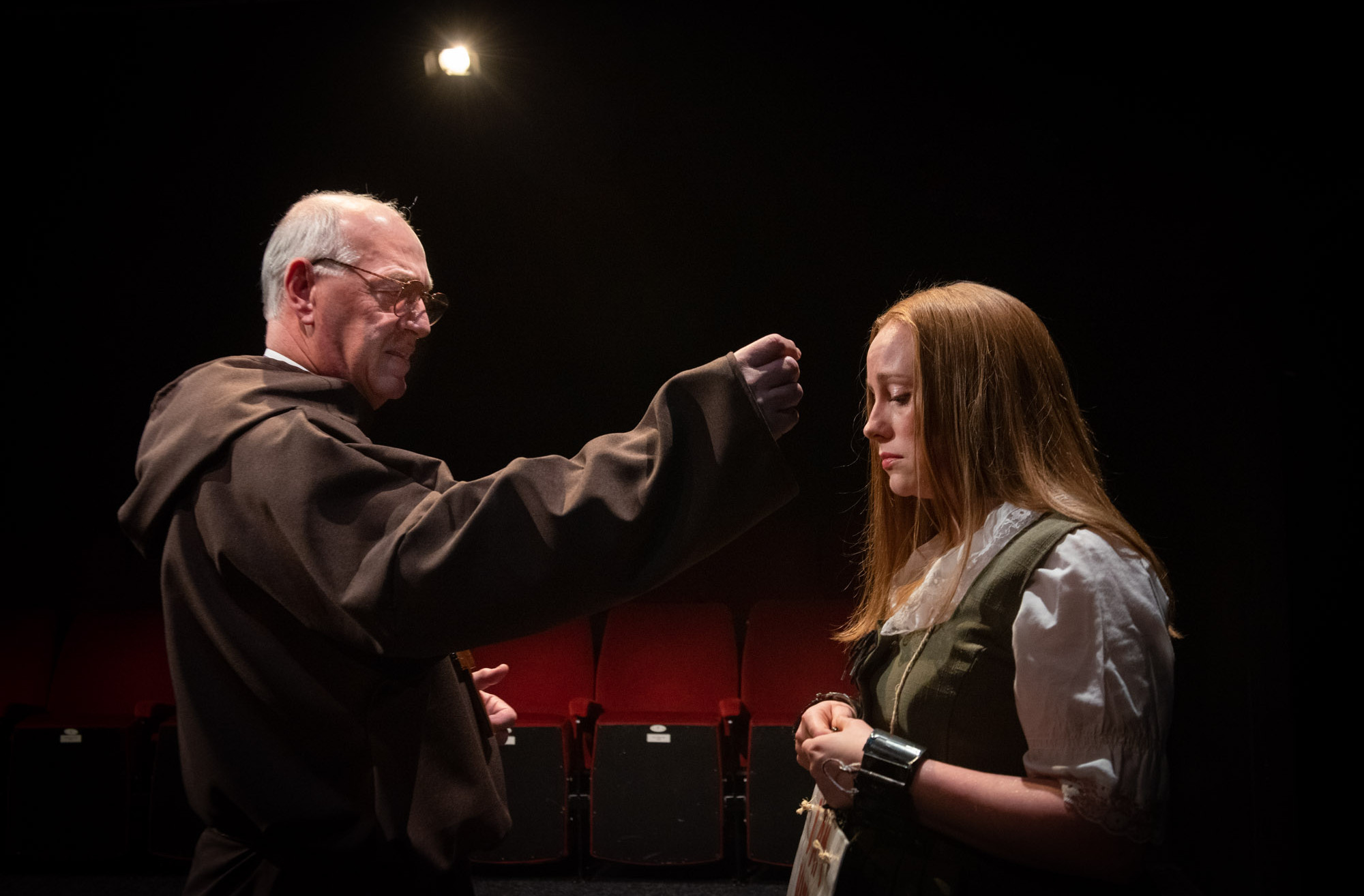 Bolton Little Theatre stage rehearsals of William Shakespeare play Measure for Measure featuring Peter Scofield as the Duke (in priest disguise) and Kimberley Riley-Shipperbottom as Juliet