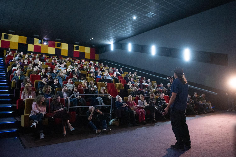 Adrian Babrber adressing the crowd at awards screening