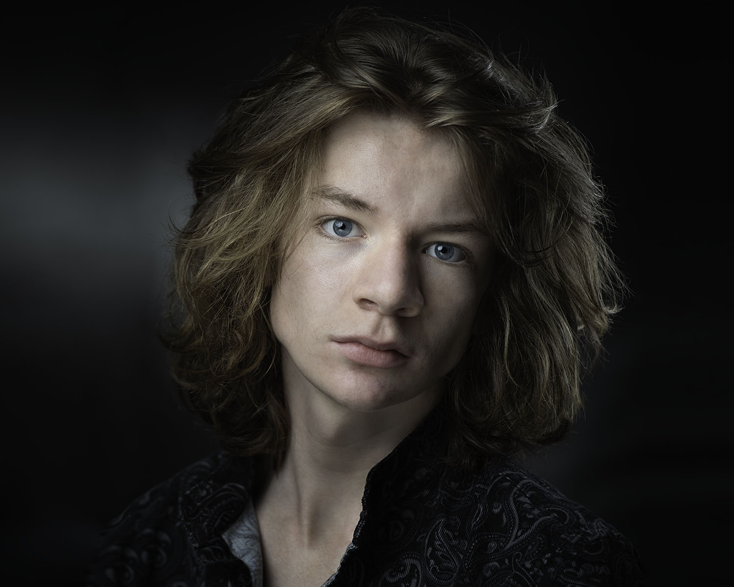Young Actors Headshot photographed in landscape on a black background