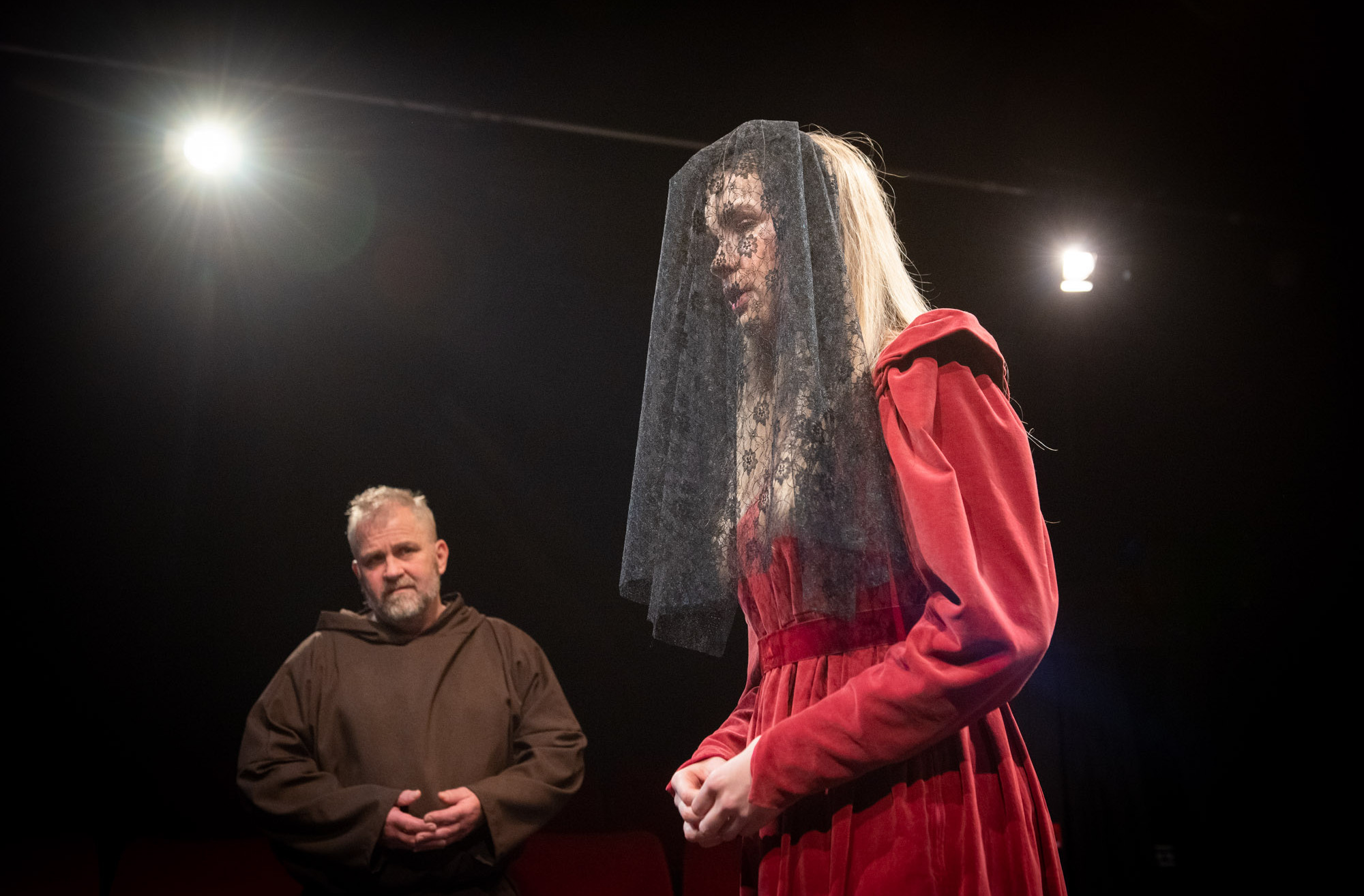 Bolton Little Theatre stage rehearsals of William Shakespeare play Measure for Measure featuring Andrew Gradwell as Friar and Rebecca Anderson as Marianna
