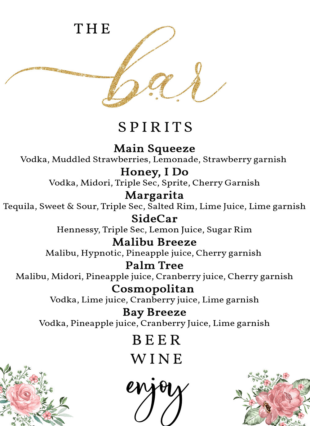A lot of drinks on the menu for the bar