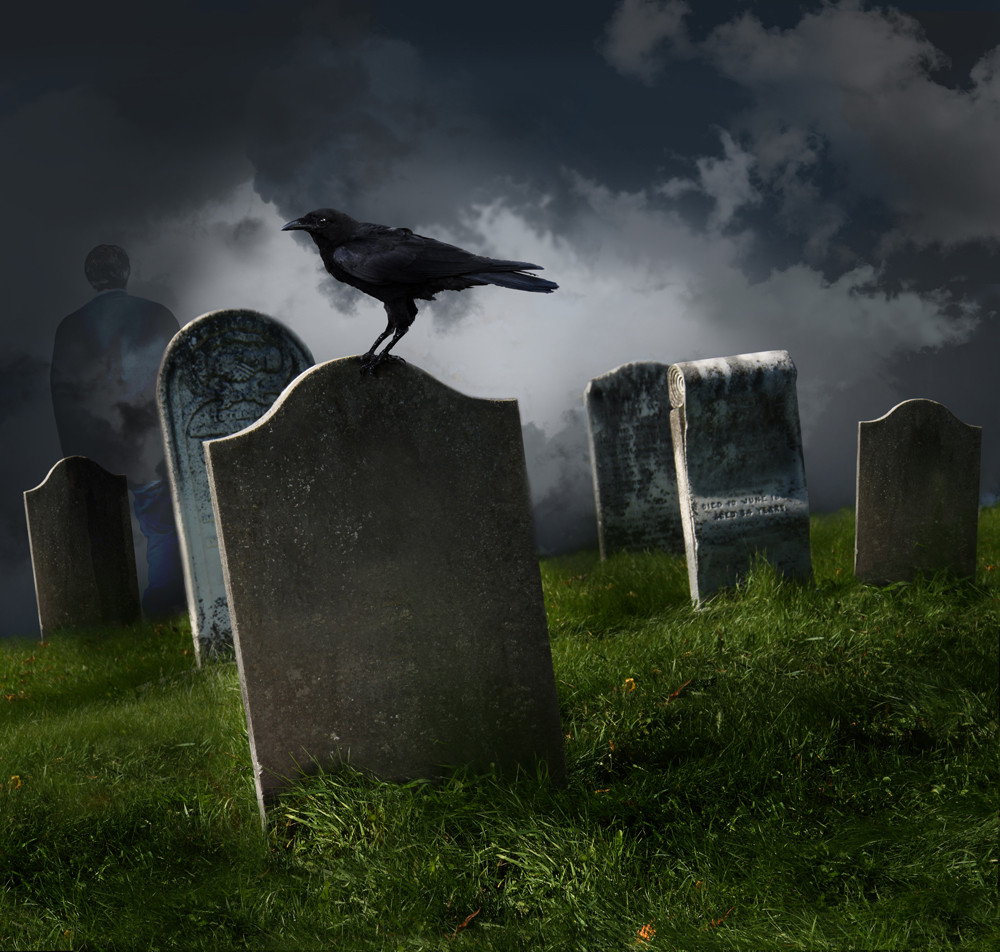 Photograph of a crow standing on a gravestone at night. Photograph courtesy of Wix.