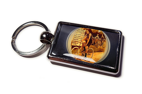 Coolrideplates® Double-sided Unique Vintage Metal Keyring Man Cyclist