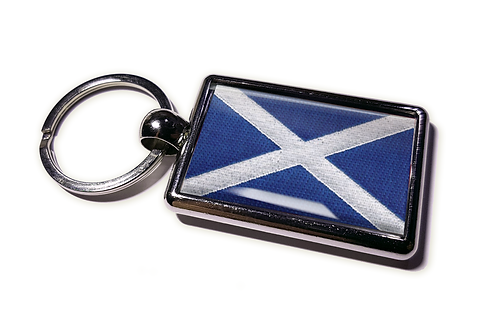 Coolrideplates® Double-sided Scotland Flag Metal Keyring