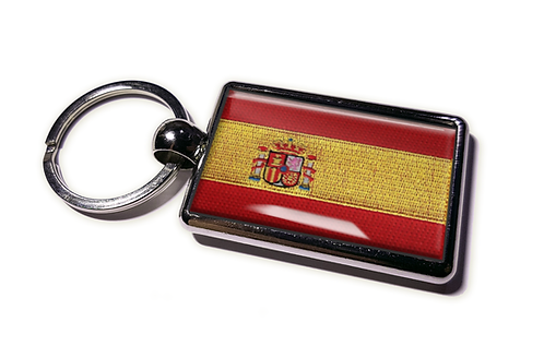 Coolrideplates® Double-sided Spain Flag Metal Keyring